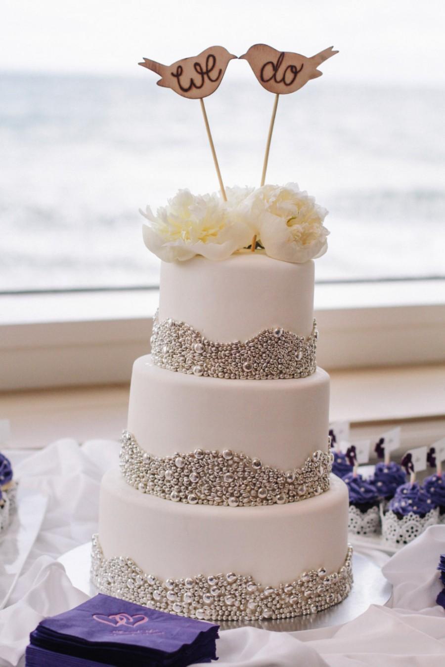 Mariage - Rustic Wedding Cake Topper Love Birds We Do Vintage Chic Decor (item E10634)