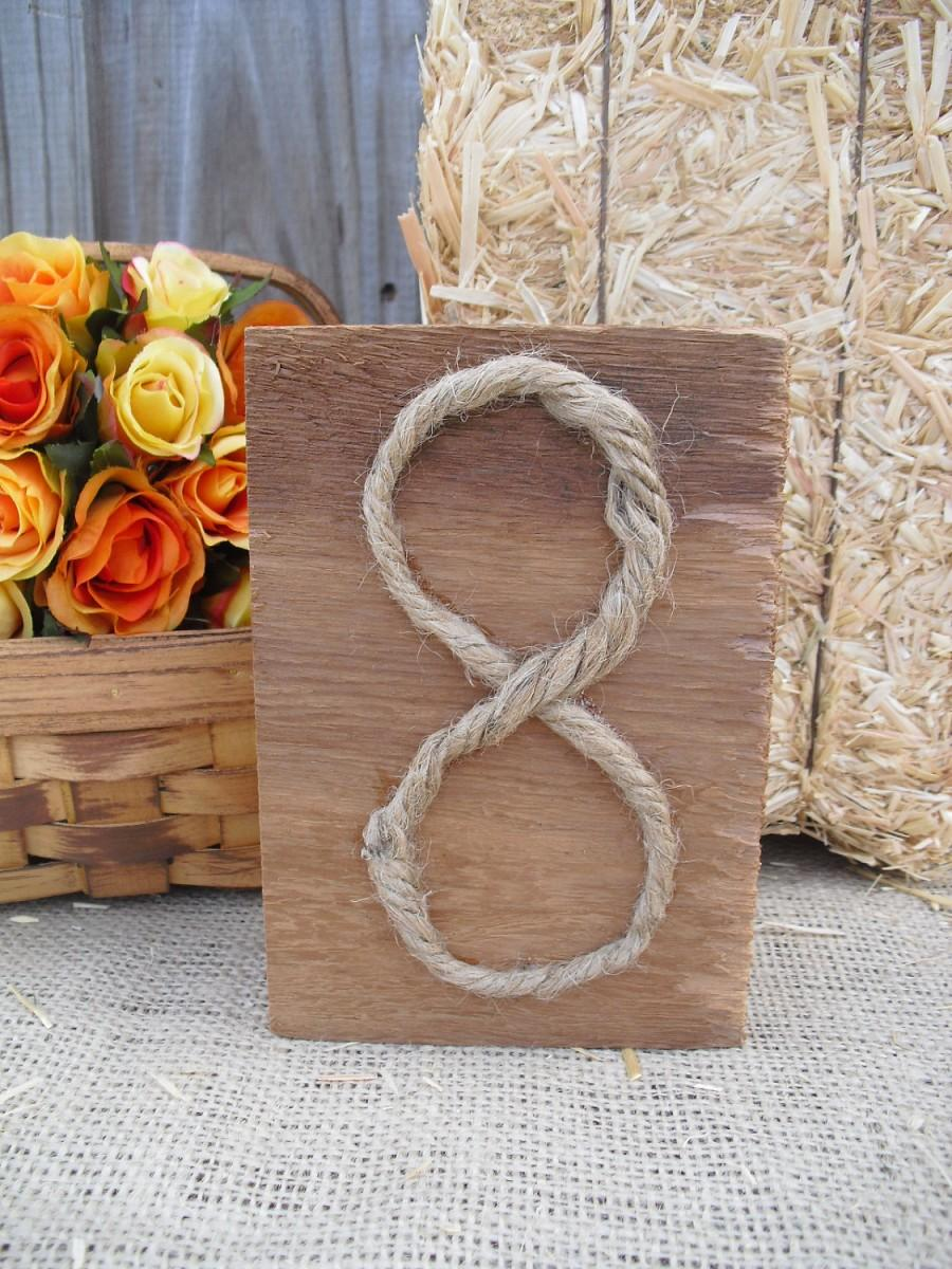 Свадьба - Table Number - Cedar and Rope Rustic Wood Table Numbers - Item 1143
