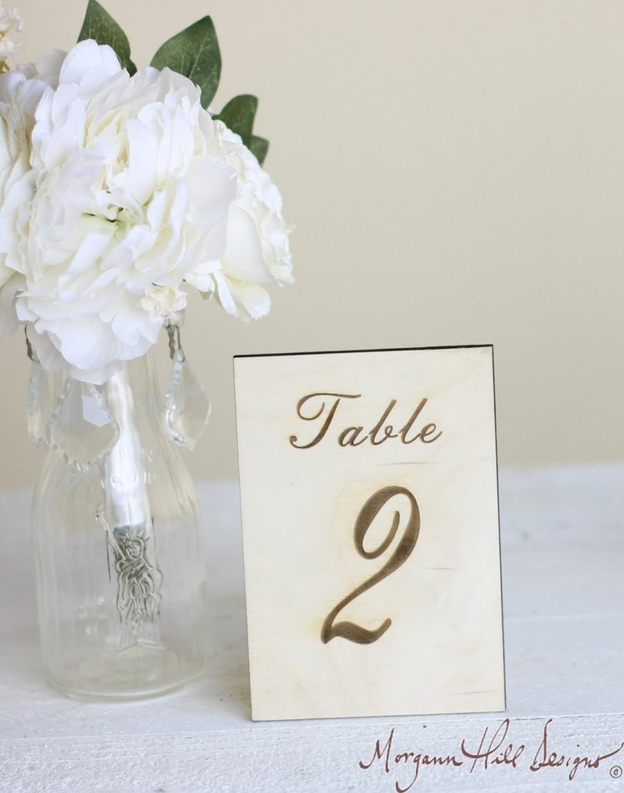 Rustic Table Numbers Engraved Wood Country Barn Wedding Decor Signs ...