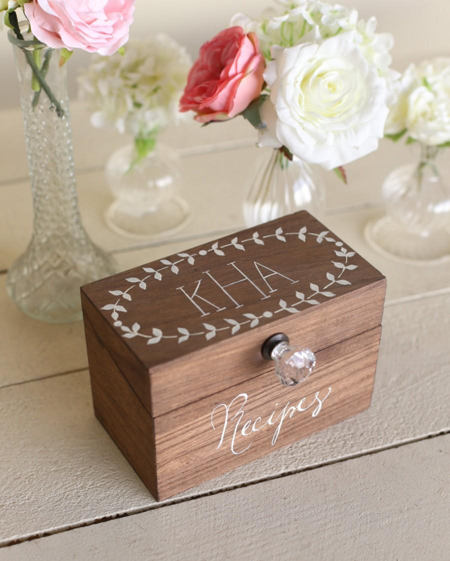 Personalized Wood Recipe Box Monogrammed Bridal Shower Gift Item
