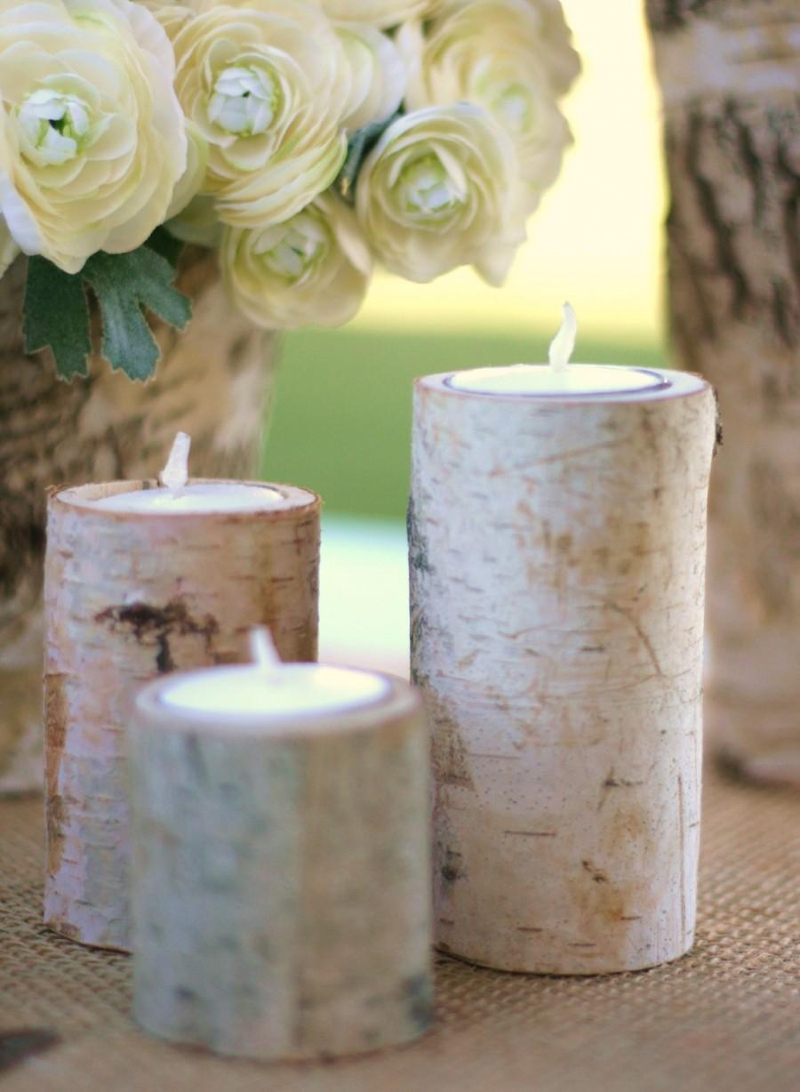 Свадьба - Natural Eco Friendly Birch Bark Log Votive Tea Light Candle Holders SET of 3 Wedding Centerpiece Decorations