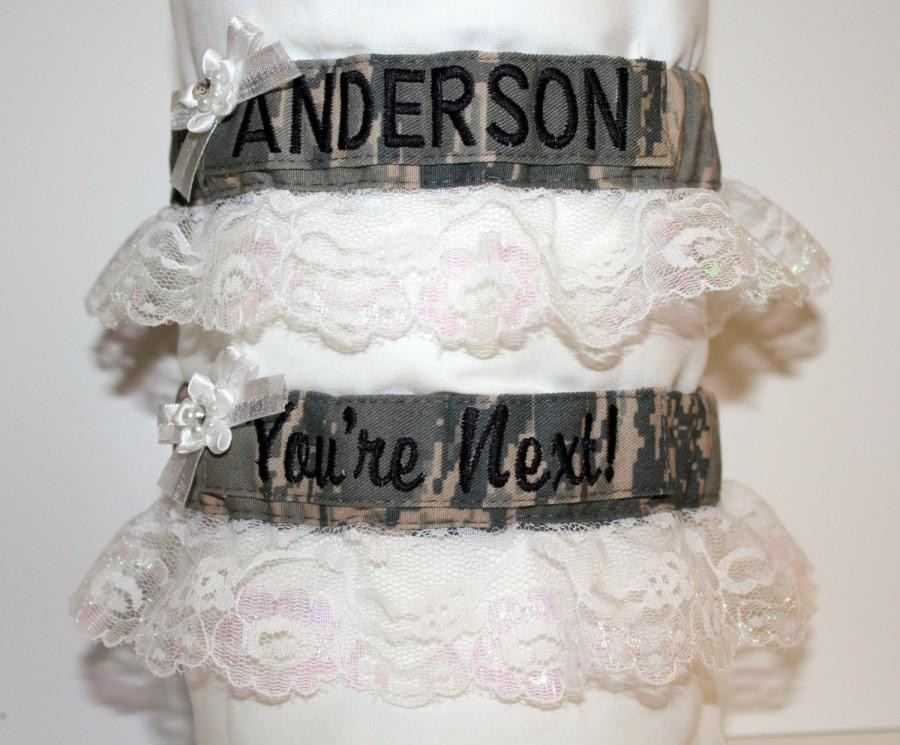 Military Bridal Garters White Lace Army Navy Marines Air Force
