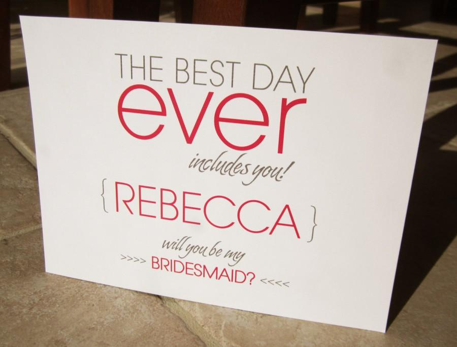 Boda - 4 Personalized Will You Be My Bridesmaid Cards The Best Day Ever