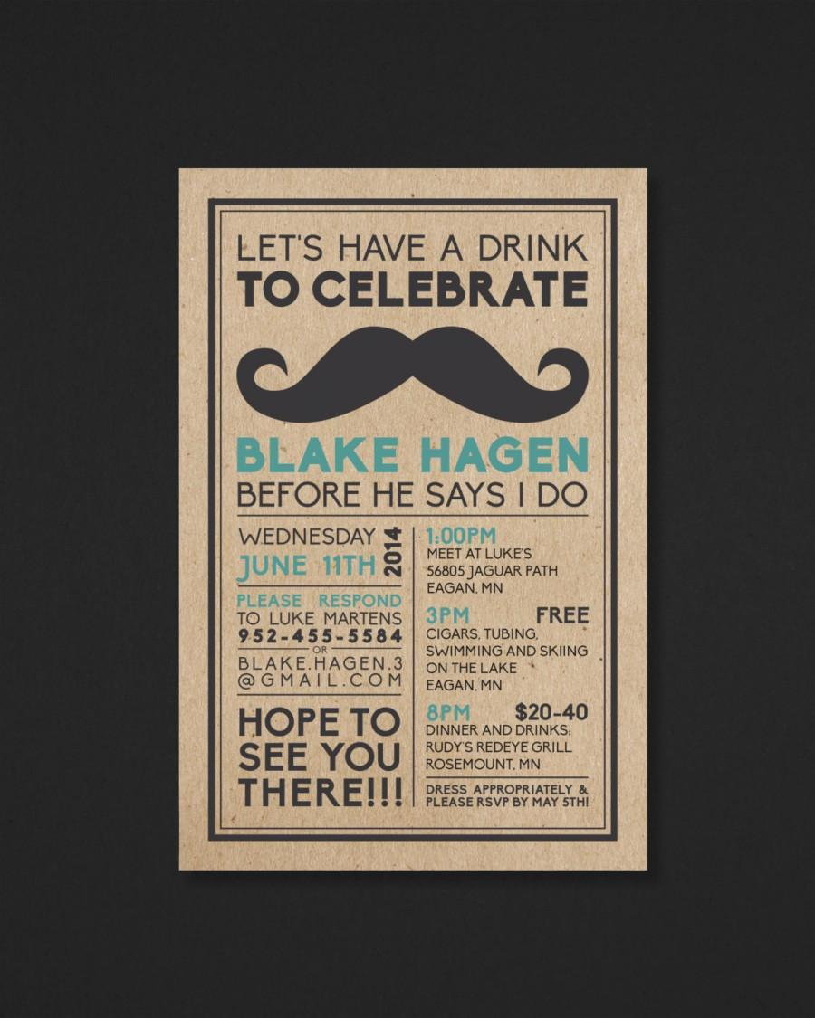 Mariage - Printable Bachelor Party Invitation - Mustache - The Biko Collection