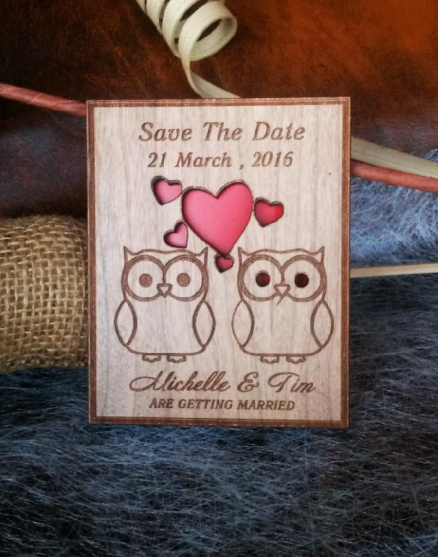 Laser Cut Save The Date Magnets 10 Engraved Wedding Owl Rustic