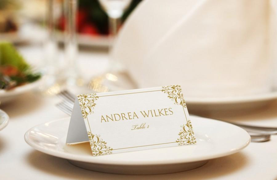 INSTANT DOWNLOAD - Wedding Placecard Template - Nadine (Gold ...