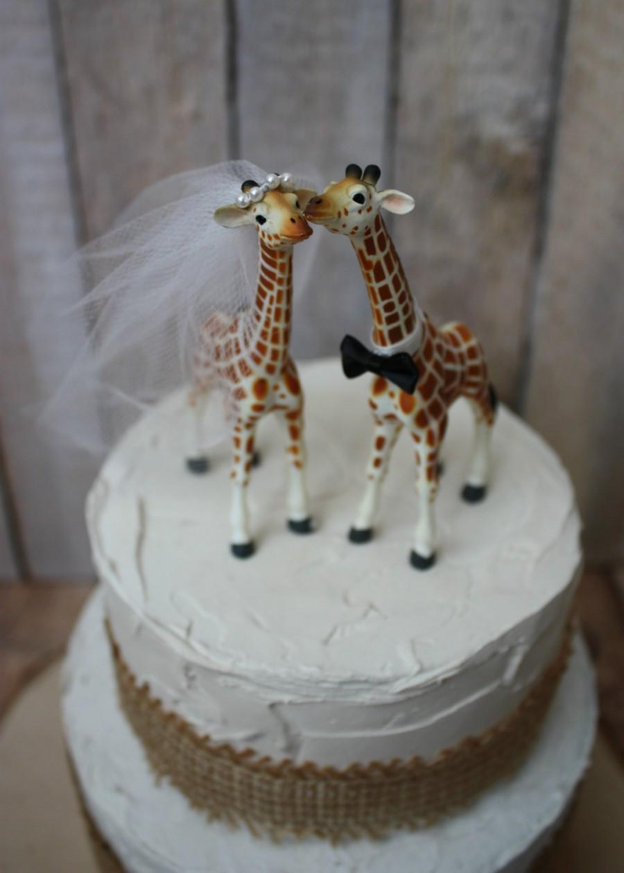 Свадьба - Giraffe wedding cake topper-animal-wedding cake topper-giraffe-wedding-just married-bride and groom-cake topper-custom-jungle-zoo-safari