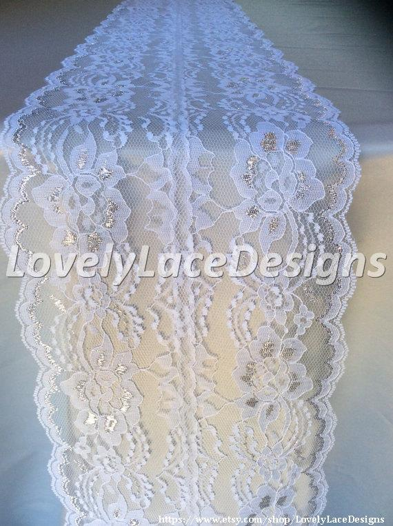5ft-10ft White/Silver Lace Table Runner, 8in Wide, Silver Weddings ...