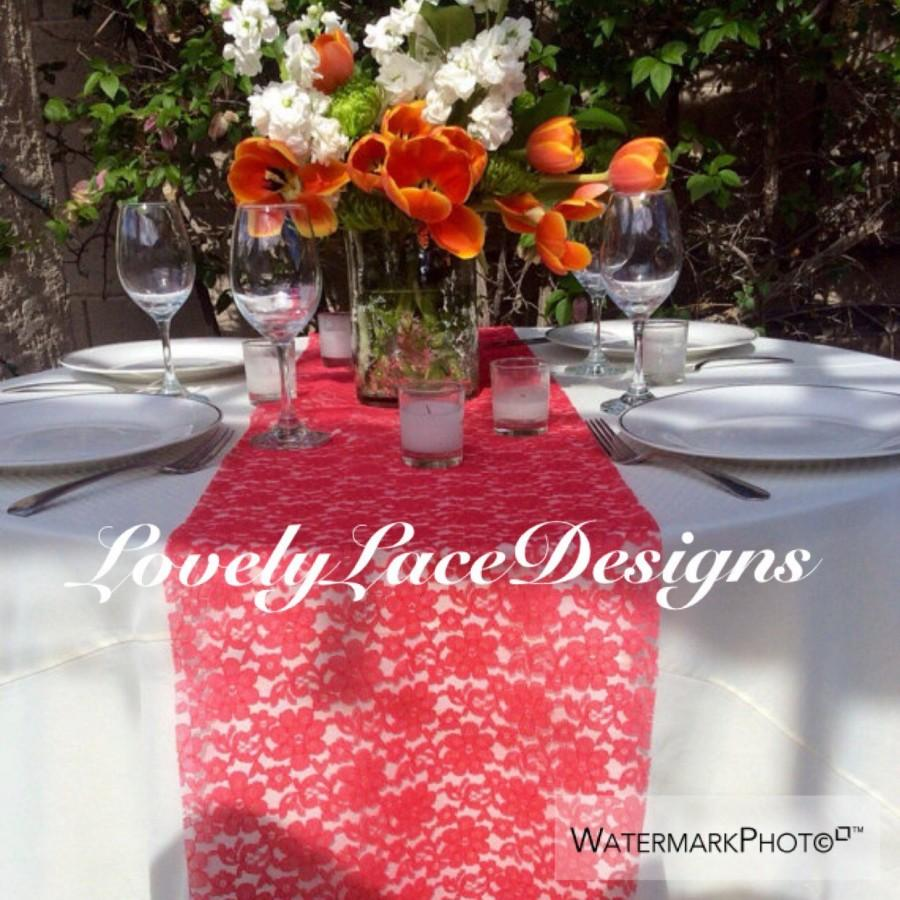 """Свадьба - Coral Lace Table Runner, 5ft & 6ft long x 12""""Wide Lace Overlay, Coral, Party Decor, Supplies, Wedding Decor, weddings/ Fall tabletop decor"""