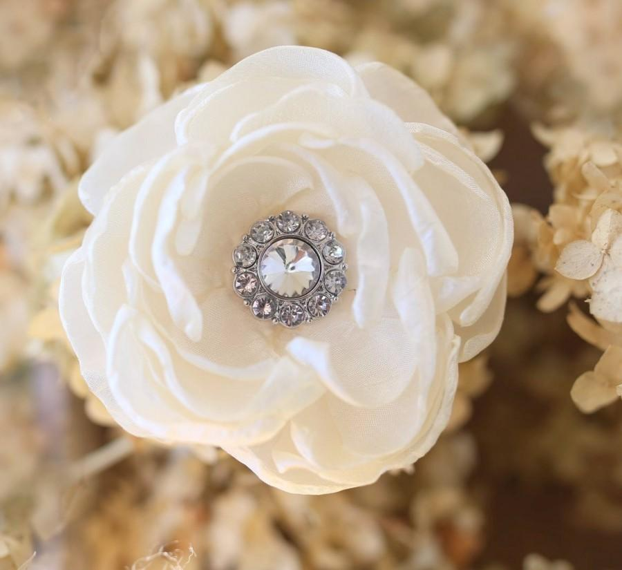 Mariage - Ivory hair flower - Bridal hair comb - Wedding hair comb - Wedding hair flower - Bridal accessories - Crystal hair comb - Rustic hair flower