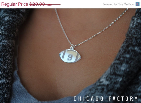 Hochzeit - Custom Football Necklace with any number mirrored acrylic by Chicago Factory- (S099)
