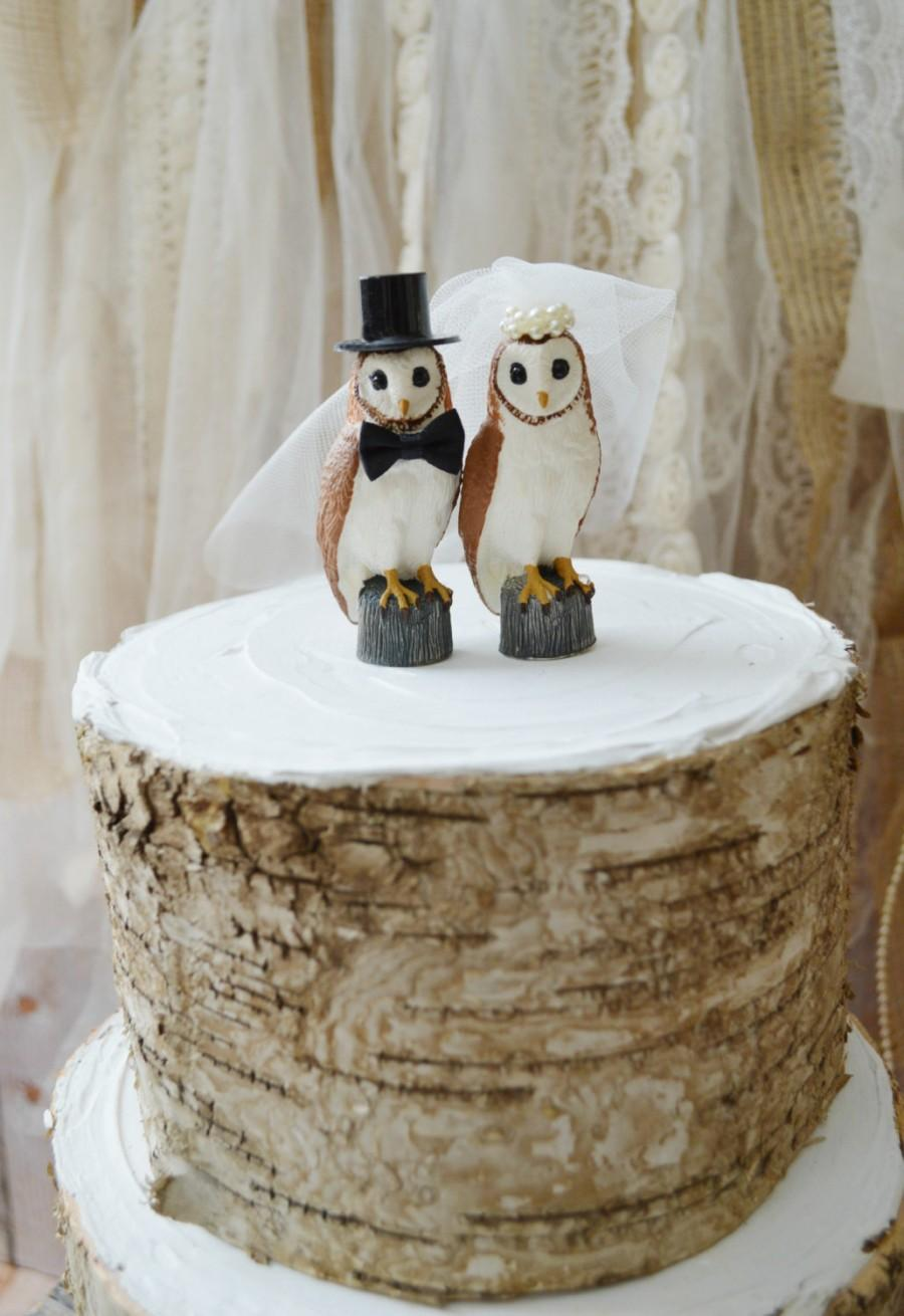 Свадьба - Owls wedding cake topper-snow owl-barn wedding-bride groom nest Barn owls cake topper-Rustic cake topper-Rustic wedding-OWLS-snow owls