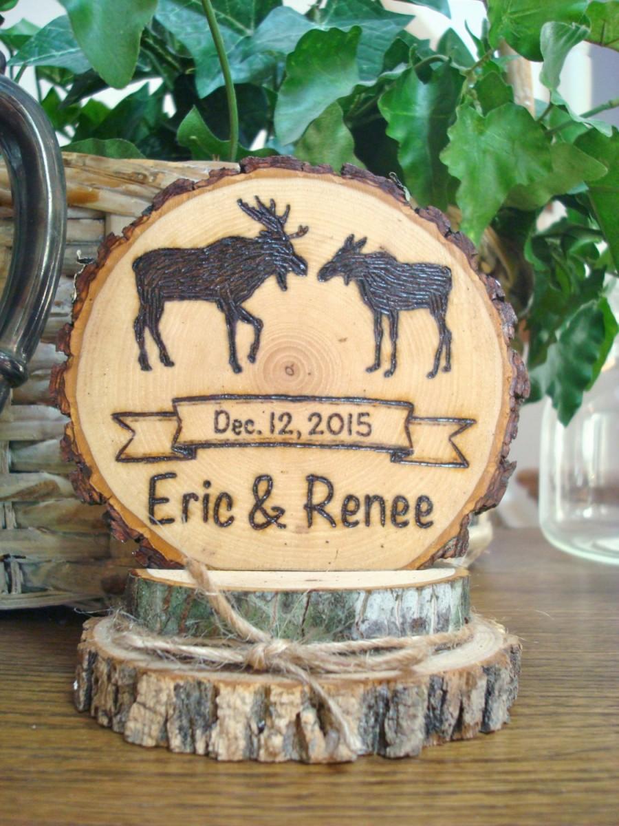 Mariage - Rustic Wedding Cake Topper / Woodland Moose Topper / Wood Slice Topper