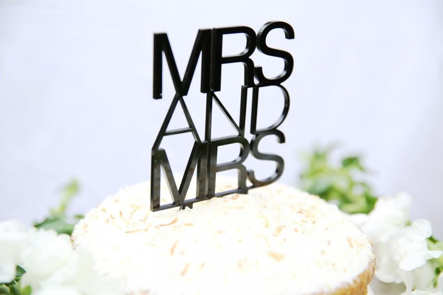 Hochzeit - Mrs and Mrs Cake Topper Contemporary