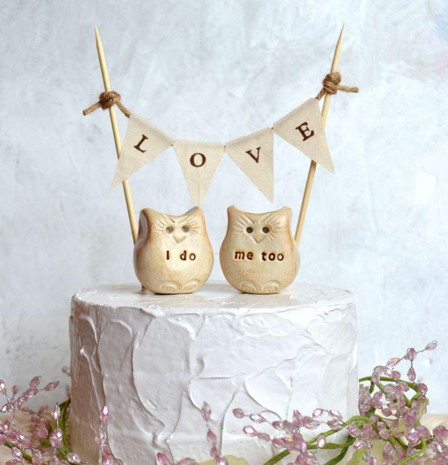 Wedding Cake Topper... I Do, Me Too Love Bird Owls And LOVE Banner ...
