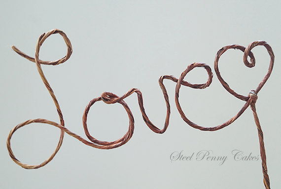 "Mariage - Rustic wire wedding cake topper- ""Love"""