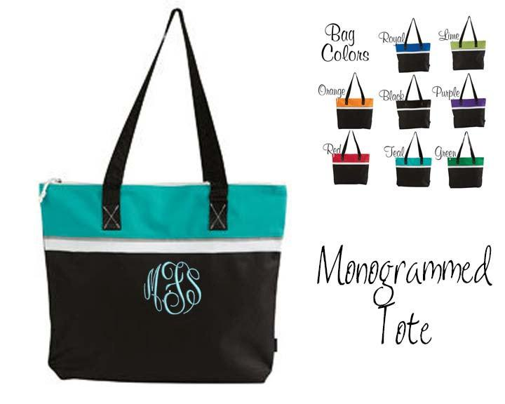 8 Monogrammed Color Stripe Zippered Tote Bags Set Of Totes Bridesmaids Personalized