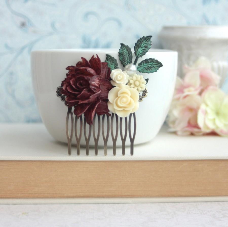 Mariage - Dark Red Maroon Rose, Ivory Flower, Pearl, Patina Verdigris Leaf Hair Comb Clip. Bridesmaid Gift. Goth Rustic Fall Winter Wedding. Bridal