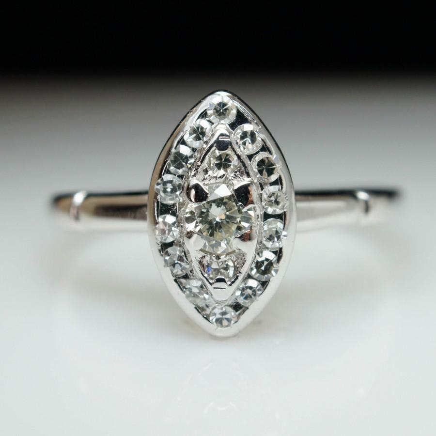 33cb9ca609ca6 SALE Vintage Antique .34ct Diamond Cluster Ring In 14k White Gold ...