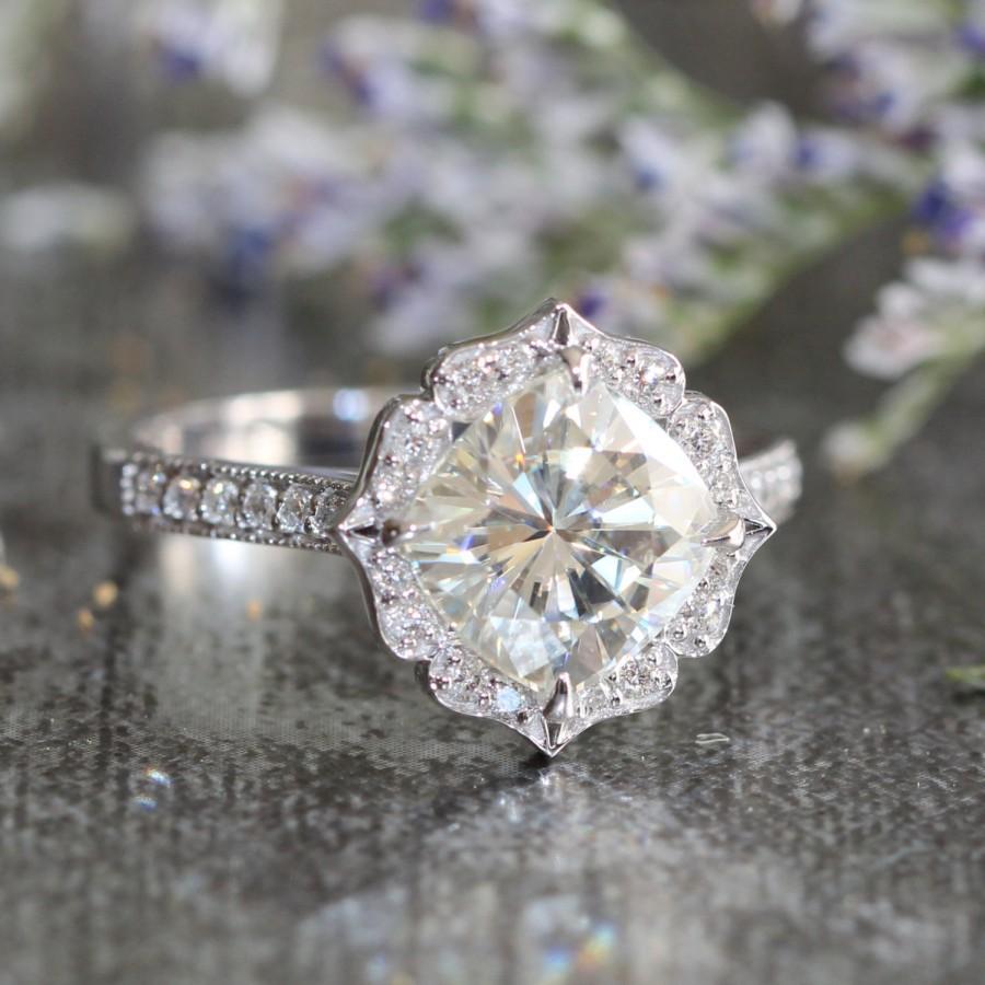 Vintage Inspired Floral Moissanite Engagement Ring In 14k White Gold Milgrain