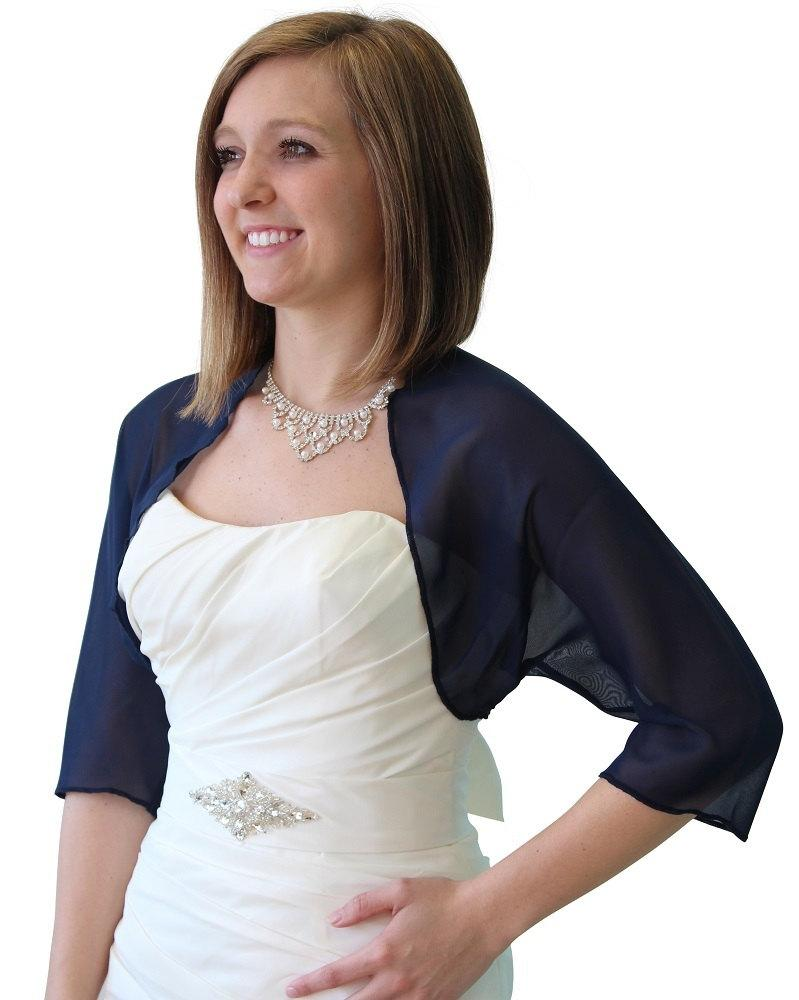Wedding - Bridal wrap, Navy Blue Chiffon Bolero, Sale Prom Bolero, Bridal Jacket, Wedding Stole, Bridal Shrug, Bridal Bolero, Bridal Shawl 890-NBLUE