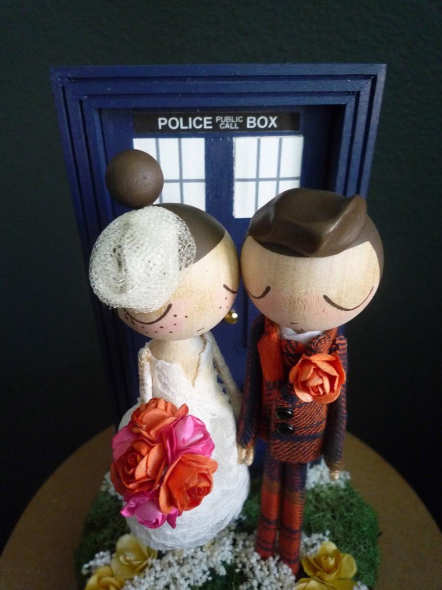 Wedding Cake Topper With Custom Wedding Dress And Doctor Who Door Background By Milktea 2407144 Weddbook