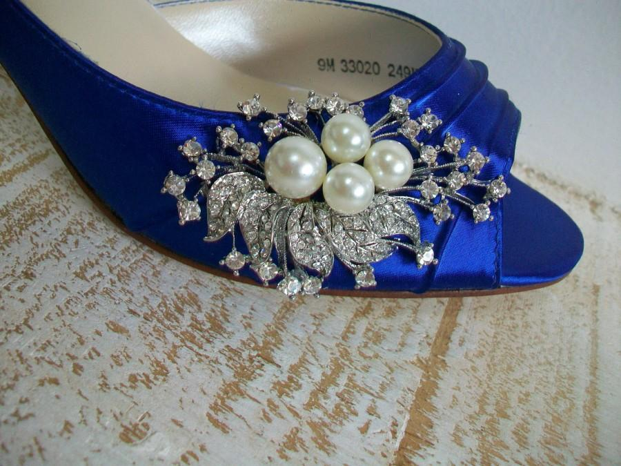 Hochzeit - Blue Wedding Shoes - Peep Toe Heels - Pearls And Crystals - Choose From Over 200 Colors - Choose Your Heel Height - Something Blue Shoes