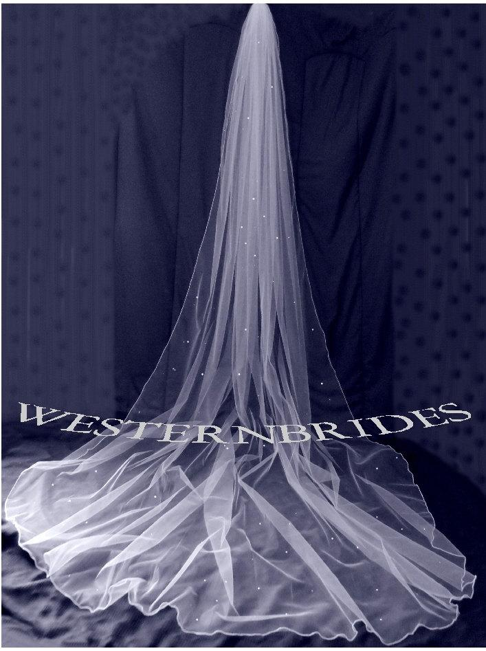Hochzeit - White, ivory or Diamond white Bridal Wedding Cathedral veil with Swarovski crystals and pencil edge