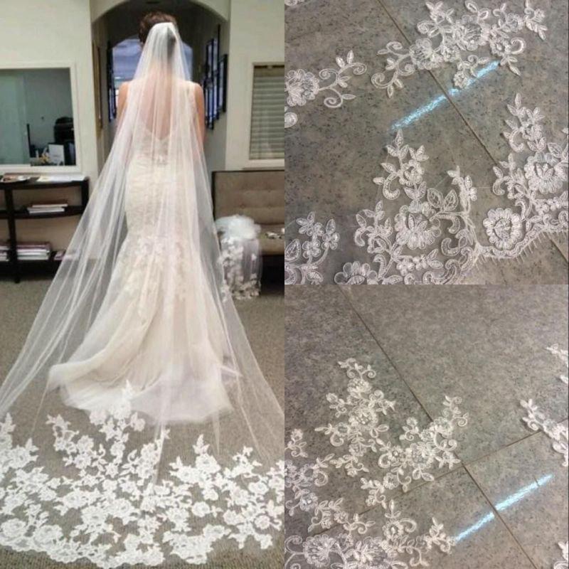 Свадьба - Cathedral Length Wedding Veil, Lace Wedding Veil, Ivory Wedding Veil,Bridal Veil Cathedral,Bridal Veil Lace Ivory Bridal Veil, Three meters