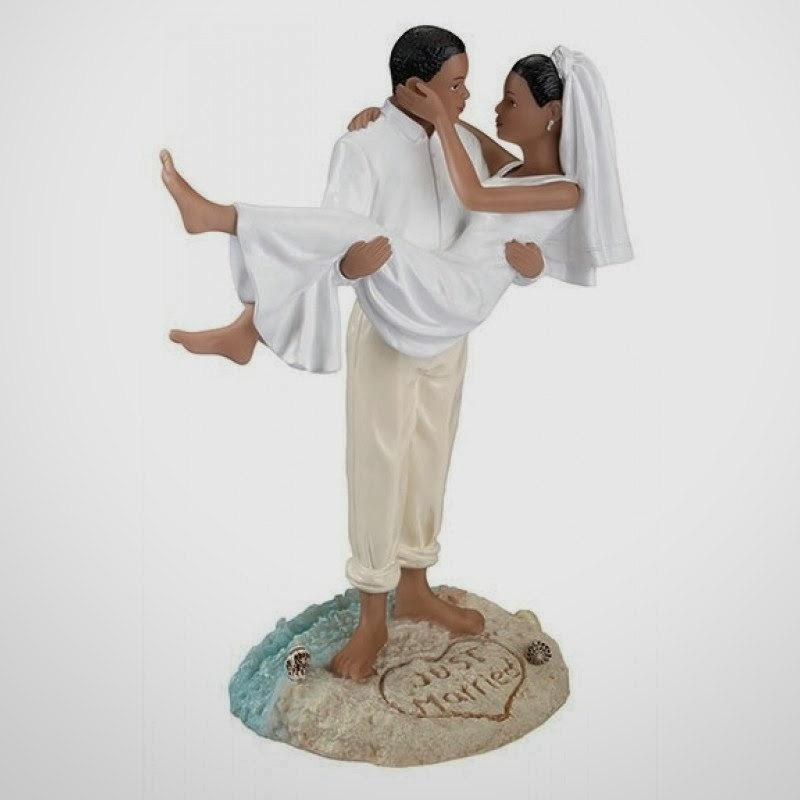 Hochzeit - Resin African American  Bride and Groom Just Married Beach Wedding CakeToppers- Destinations Tropical Island AA Couple Romantic Figurines