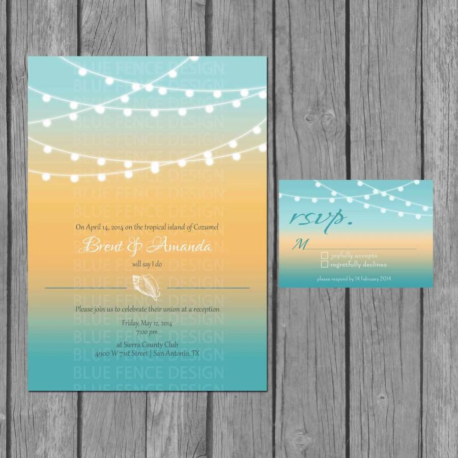 Wedding - beach wedding invitation, modern, strings of lights, seashells, reception only invite, RSVP, Accommodation Card, Information Card