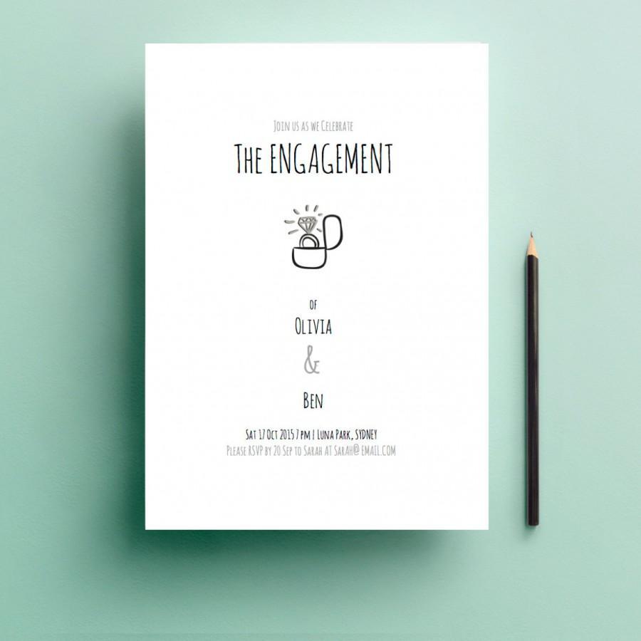 Wedding - Printable Engagement Invitation - Ring Box Design