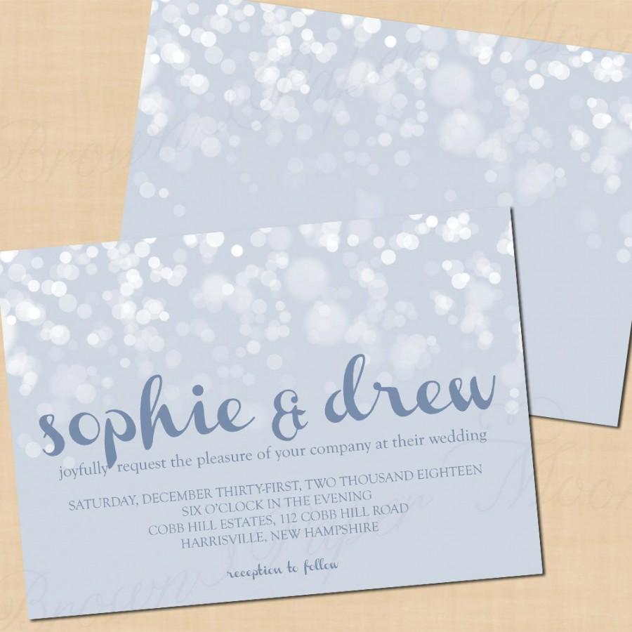 Wedding - Winter's Snow Text-Editable Slate Blue Invitation: Landscape 7 x 5 - Printable Instant Download
