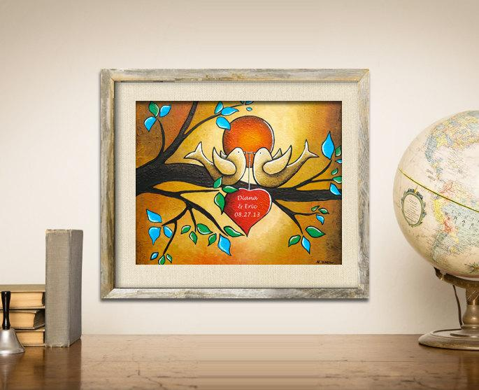 Wedding - Personalized Couples Gift, Love Birds Wedding Gift, Custom Names Art Print, Lovebirds Wall Art, Signed Print