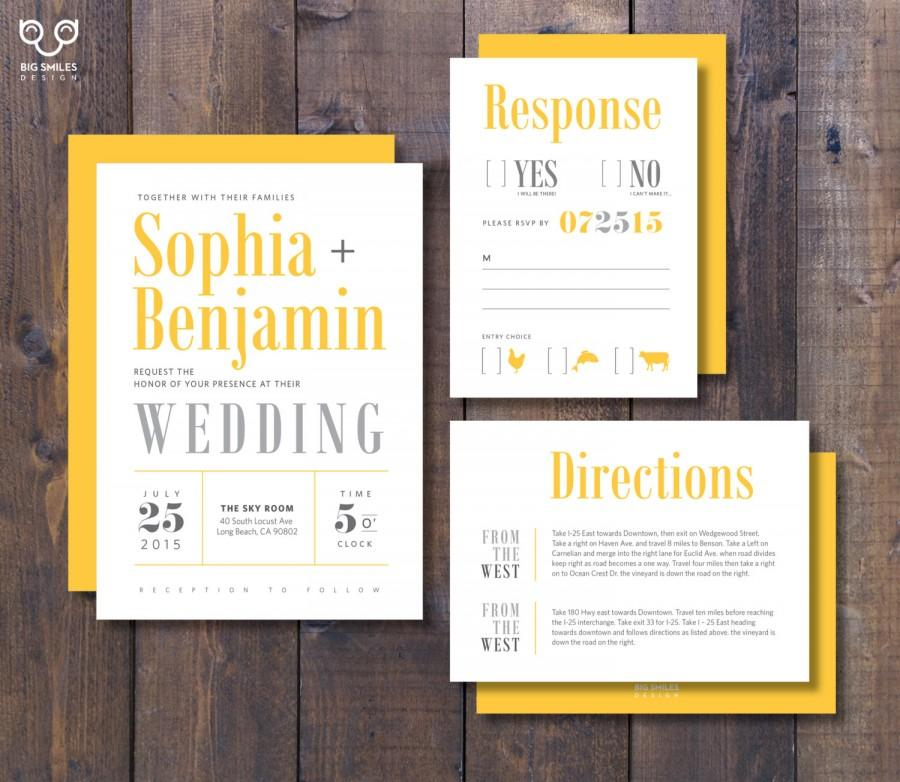 Printed Wedding Invitation Rsvp Direction Card With Envelope Modern Yellow And Grey Condensed Type Sophia Suite