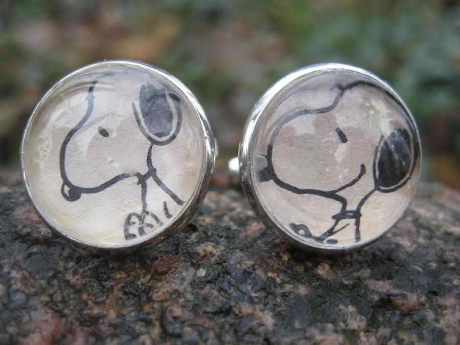 Wedding - SNOOPY Cufflinks. Wedding, Men's Christmas Gift, Dad. Silver Plated. CUSTOM Orders WELCOME