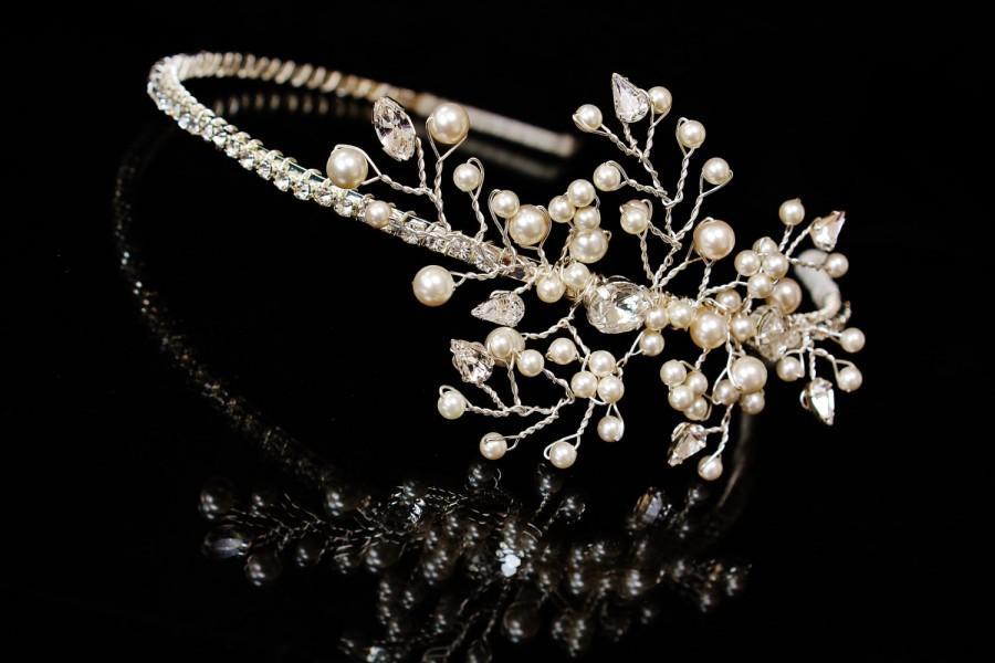 Mariage - Vintage Bridal Headpiece Swarovski Headband Handmade Pearl Bridal Headband Bridal Hairpiece Wedding Hairpiece Diamante Headband