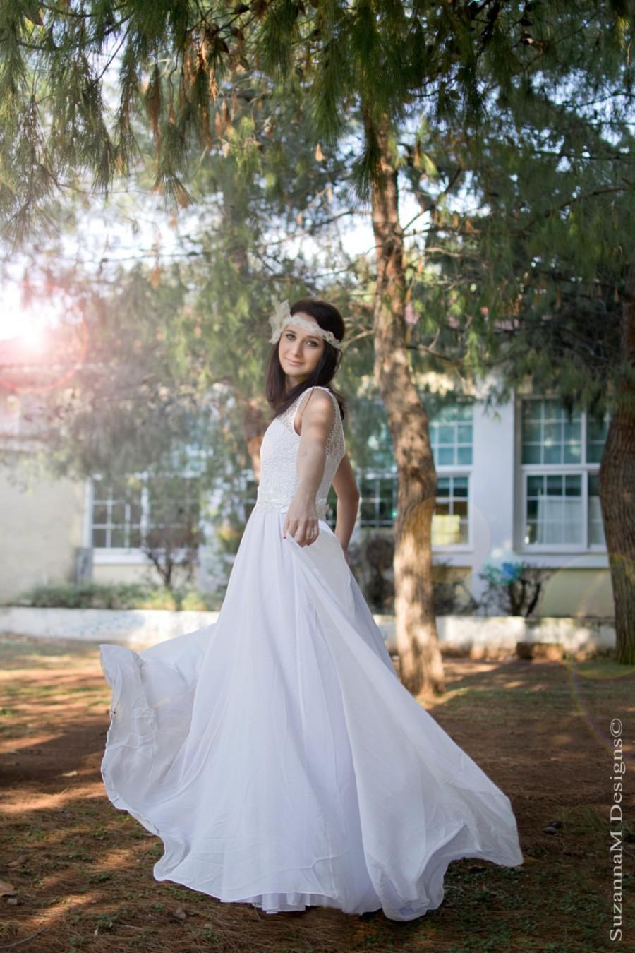 زفاف - Long Wedding Dress White Bridal Dress Lace and Silk Chiffon  Wedding Gown - Handmade by SuzannaM Designs