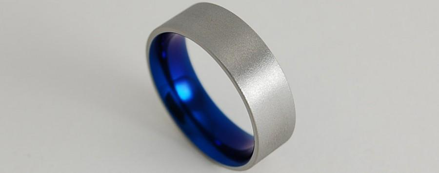 Mariage - Wedding Band , Titanium Ring , Apollo Band in Nightfall Blue with Comfort Fit