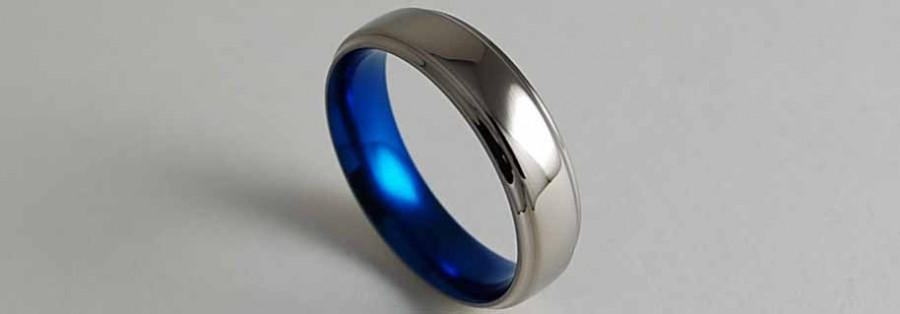 Mariage - Titanium Ring , Mens Wedding Band , Neptune Band in Nightfall Blue with Comfort Fit