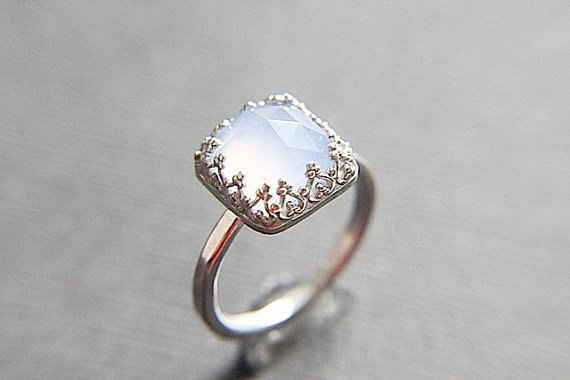 Свадьба - Coupon Code SAVE10 - Blue Chalcedony Vintage Style Engagement Ring - Elegant Square Gemstone - Unique Styling