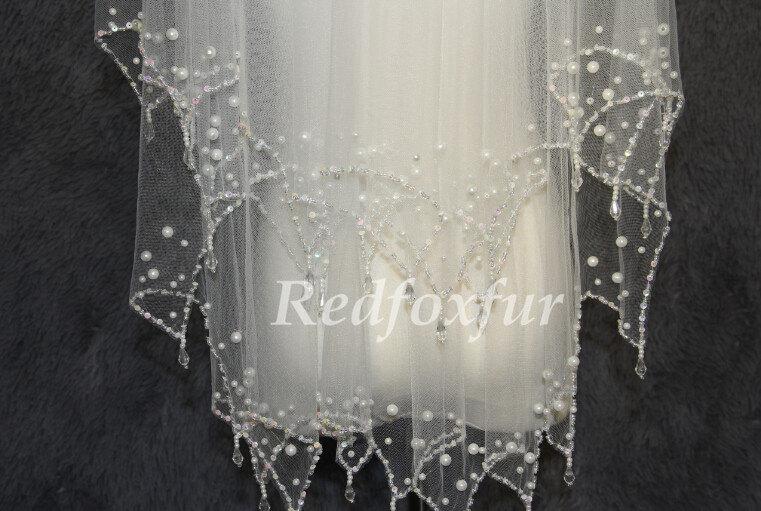 Wedding - Wedding Veil Bridal Veil pearl veil, two layer veil white ivory veil elbow