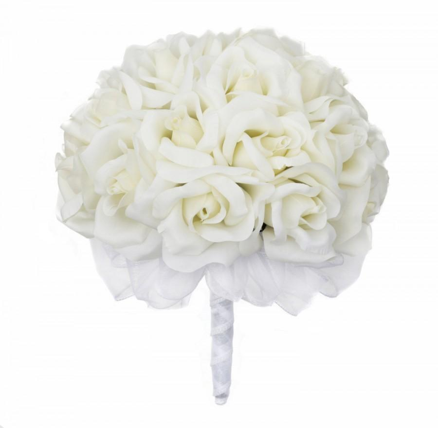 Свадьба - Ivory Silk Rose Hand Tie (24 Roses) - Artificial Bridal Wedding Bouquet