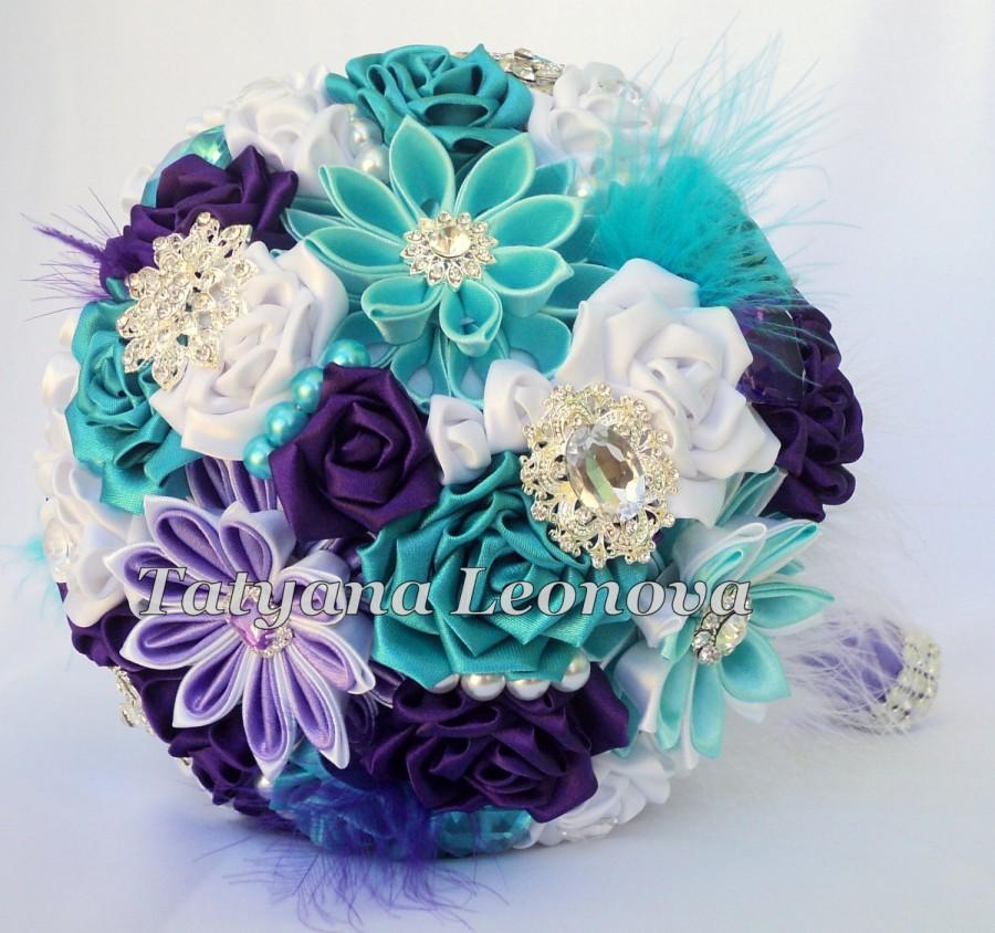 Свадьба - Wedding Bouquet, Brooch bouquet, purple, turquoise, white, 7 inches