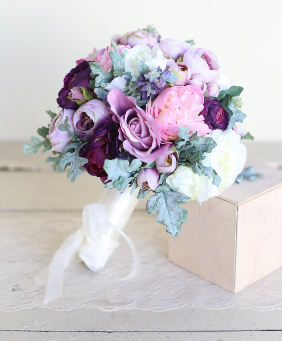 Свадьба - Silk Bridal Bouquet Purple Lavender Dusty Miller Garden Rustic Chic Wedding NEW 2014 Design by Morgann Hill Designs