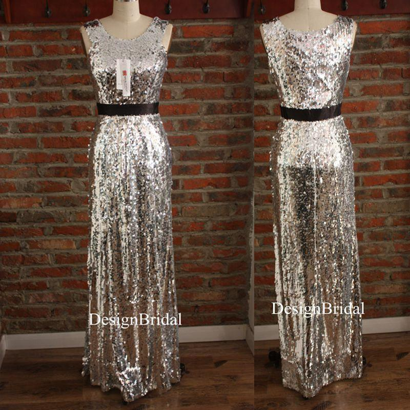 Sequin Prom Gown Sleeveless,Sparkling Party Dress Long,Unique ...