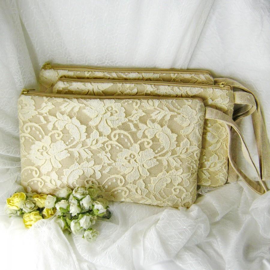 Mariage - Set of 5 Bridesmaid clutch, cotton linen lace clutch, wedding purse bag (Ref: CL904) CHOOSE your color
