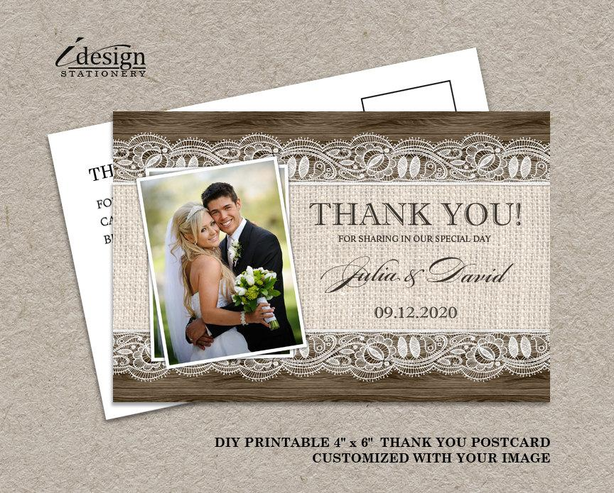 Wedding - DIY Printable Rustic Wedding Thank You Photo Cards With Burlap And Lace, Elegant Rustic Country Thank You Postcards