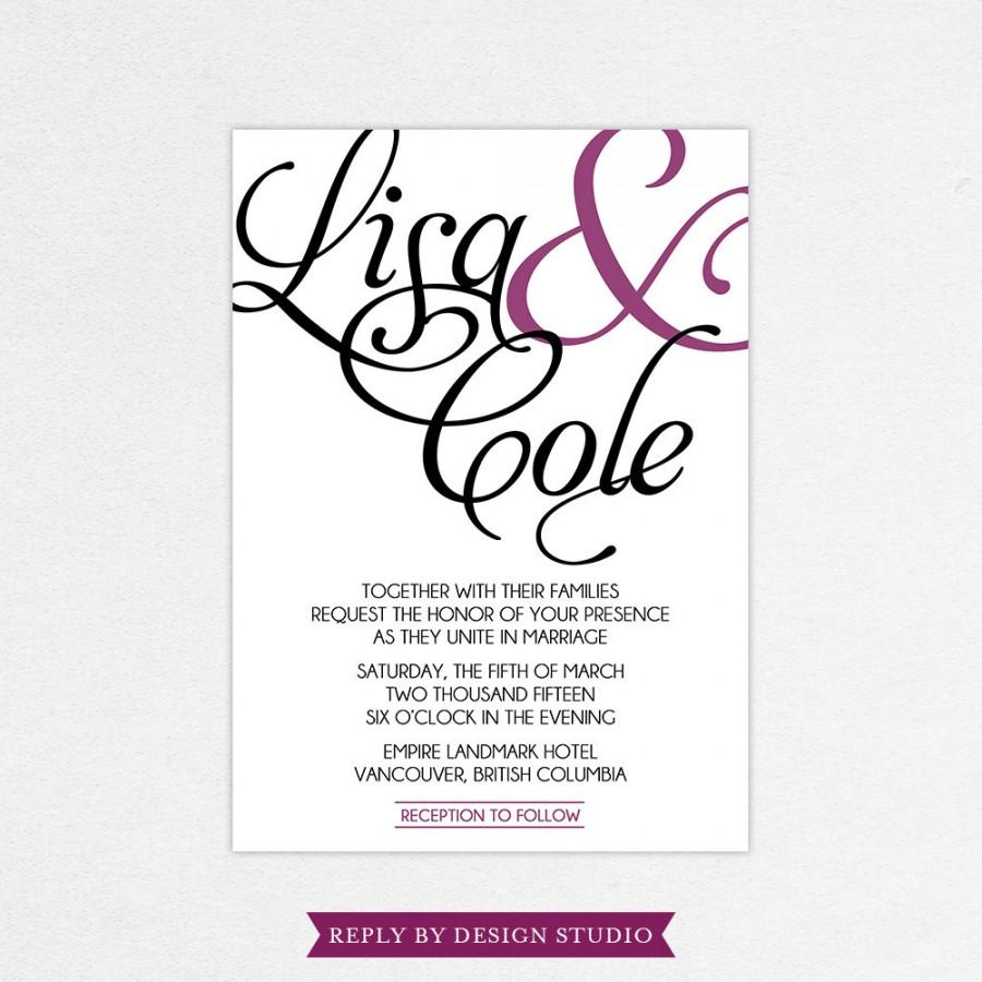 Wedding Invitation And RSVP Card (Stated) - Digital Files Or Deposit ...