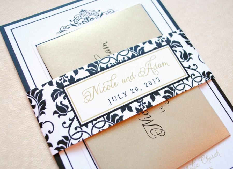 Свадьба - Gold Wedding Invitations, Black Damask Wedding Invitations, Elegant Wedding Invitations, Black, Champagne, Gold, Black and Gold Invitations